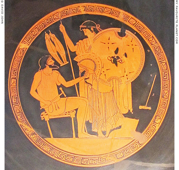 Hephaistos gives Thetis the armour he has made for her son Achilles at My Favourite Planet