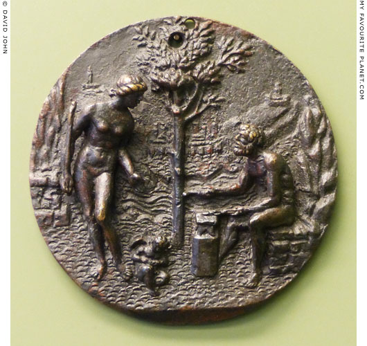 Bronze plaque with a relief of Hephaistos forging arrows for Eros at My Favourite Planet