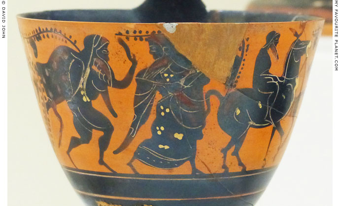 A black figure kyathos showing Hephaistos returning to Olympus at My Favourite Planet