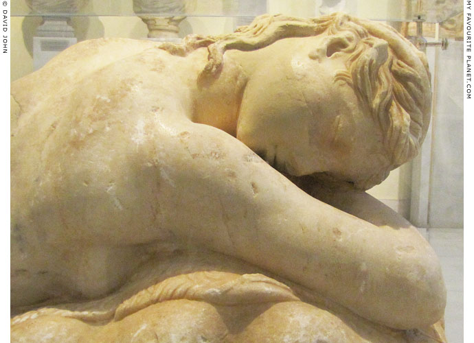 Detail of the sleeping maenad statue in Athens at My Favourite Planet