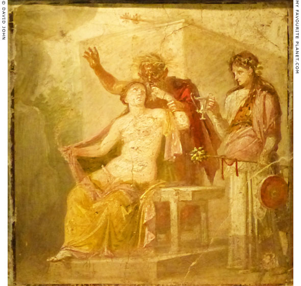 Fresco with Hermaphroditus, a satyr and maenad, from Pompeii at My Favourite Planet