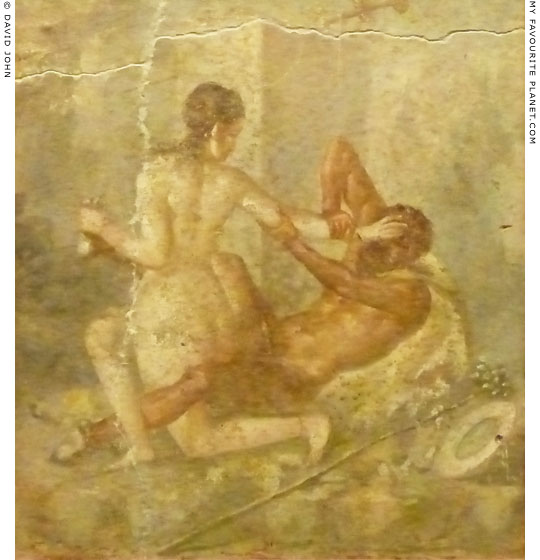 Fresco of Hermaphroditus and a satyr at erotic play, from Pompeii at My Favourite Planet