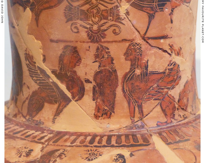 Hermes and two sphinxes on an Attic black-figure amphora by Sophilos at My Favourite Planet