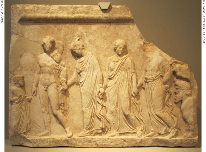 Votive relief for Hermes and the nymphs at My Favourite Planet