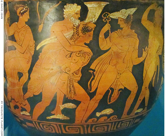 Vase painting of Hermes and Herakles in Hades at My Favourite Planet