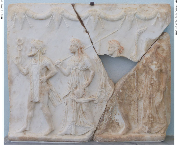 Relief of Hermes, Athena, Apollo and Artemis from Delos at My Favourite Planet