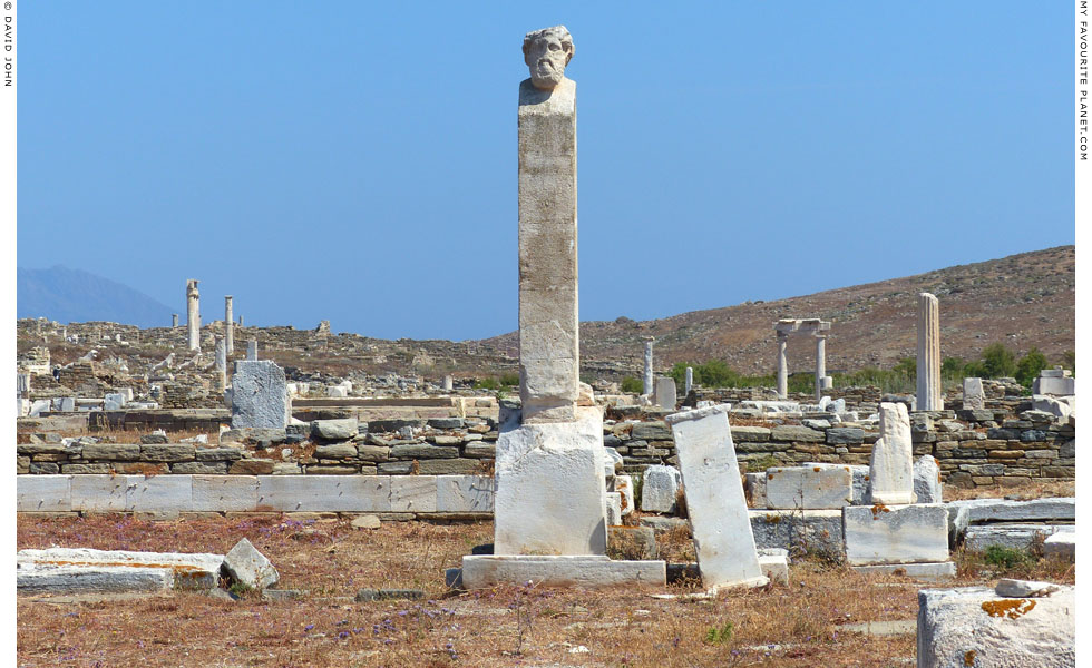 A modern copy of a herm of Hermes in the remains of the Prytaneion, Delos at My Favourite Planet