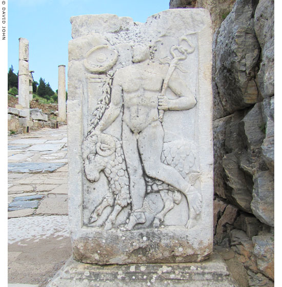 Marble relief of Hermes with a ram, on a pedestal on the Clivus Sacer, Ephesus at My Favourite Planet