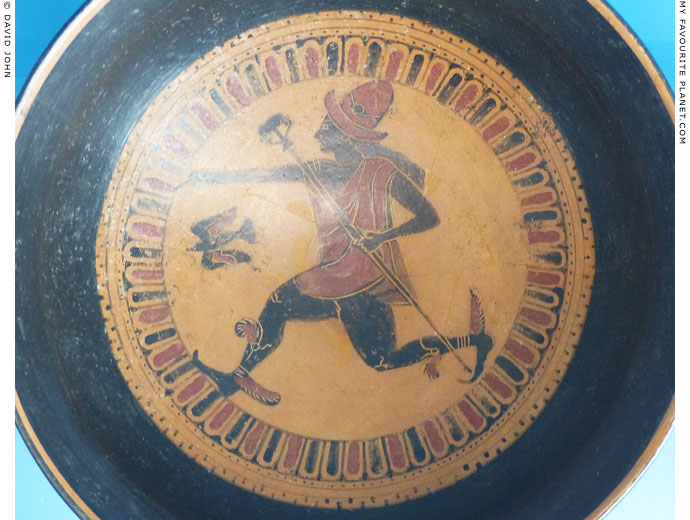 The tondo of an Etruscan black-figure little master cup showing Hermes at My Favourite Planet