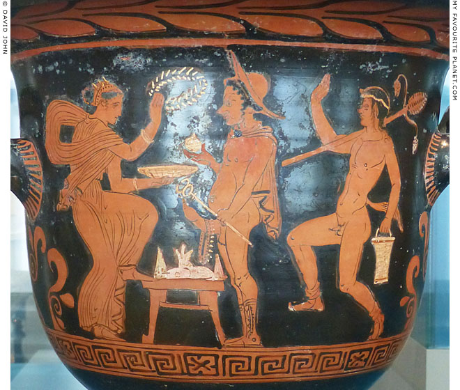 Hermes on a red-figure Lucanian red-figure bell krater at My Favourite Planet