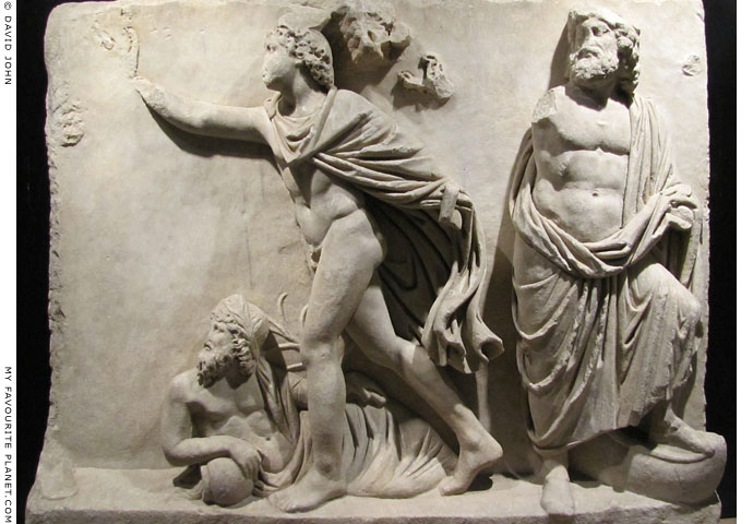 Marble relief of the gods Okeanos, Hermes and Poseidon at My Favourite Planet