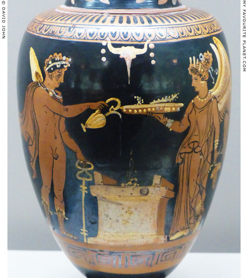 Hermes and Nike at an altar on an Apulian oinochoe at My Favourite Planet