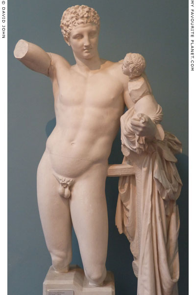 Statue of Hermes carrying the infant Dionysus from the temple of Hera at Olympia, Greece at My Favourite Planet
