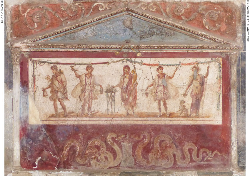 Fresco showing Mercury and Dionysus in a tavern in Pompeii at My Favourite Planet