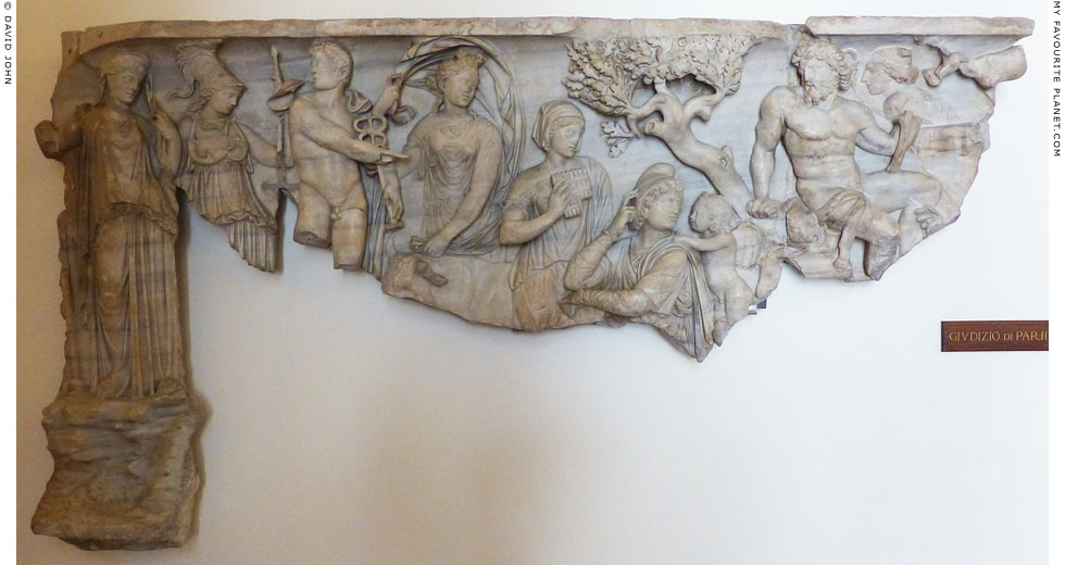 Marble relief of the Judgement of Paris at My Favourite Planet