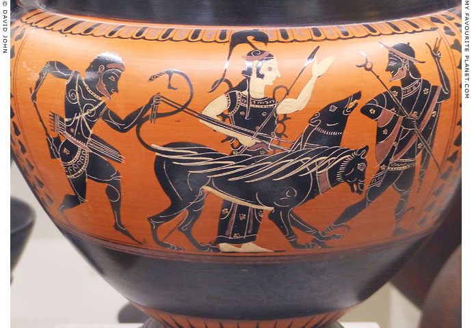 Herakles with Cerberus in the presence of Athena and Hermes at My Favourite Planet