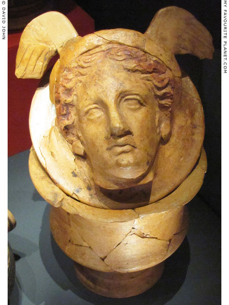 A relief of the head of Hermes on the lid of a ceramic vessel from Larino, Italy at My Favourite Planet
