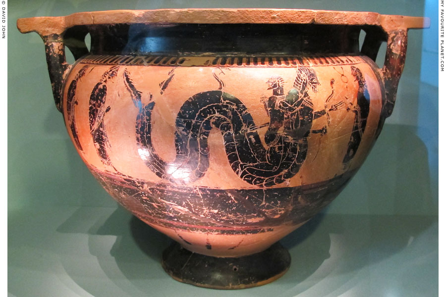 Herakles wrestles with Nereus, watched by Hermes at My Favourite Planet