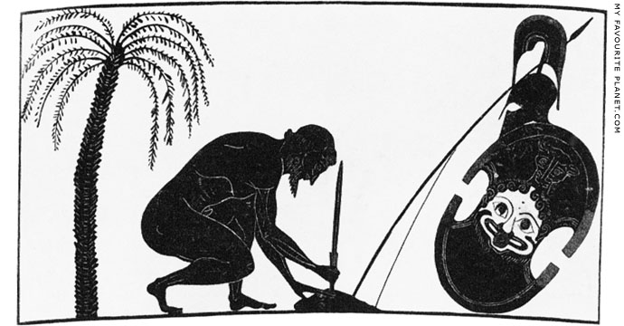 Ajax preparing for his suicide on an amphora by Exekias at My Favourite Planet
