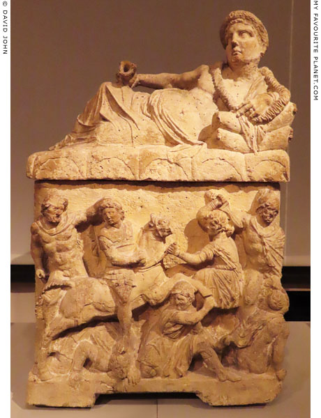 The murder of Troilus by Achilles on an Etruscan cinerary urn at My Favourite Planet