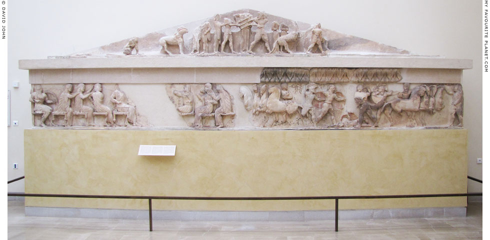 The pediment and frieze from the east side of the Siphnian Treasury, Delphi at My Favourite Planet