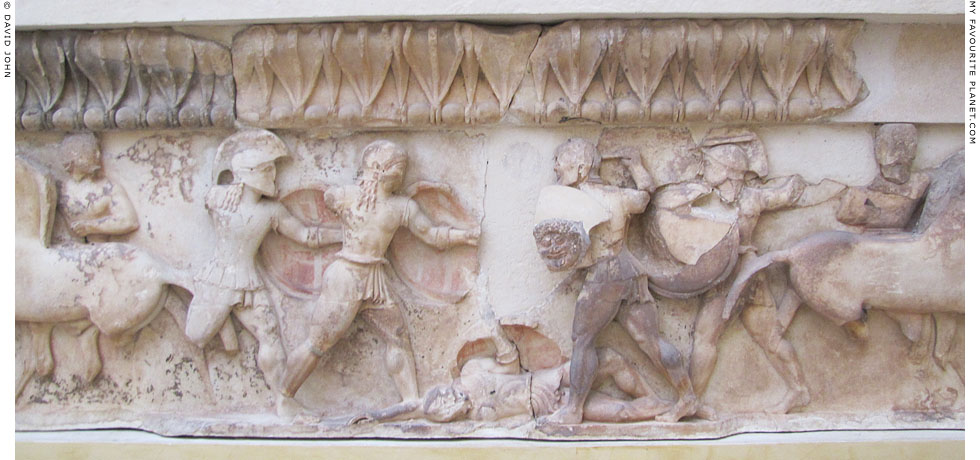 The battle scene on the frieze relief from the east side of the Siphnian Treasury, Delphi at My Favourite Planet