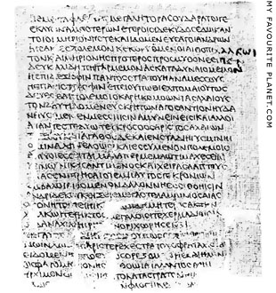 A papyrus page of Homer's Iliad Book 13 at My Favourite Planet