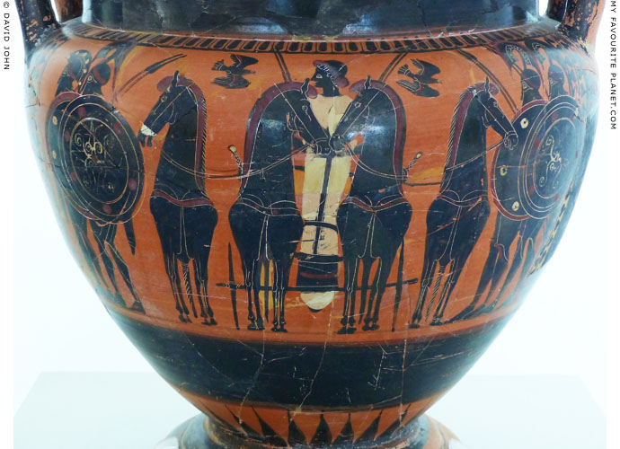 A youth in a chariot on a black-figure column krater in Kavala at My Favourite Planet