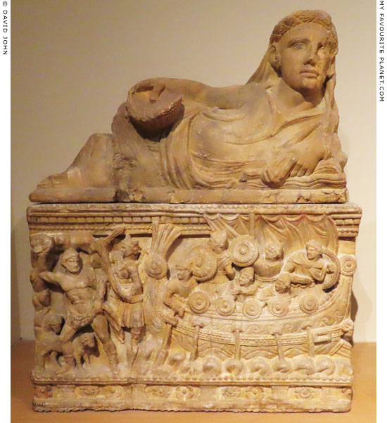 Odysseus and Polyphemos on Etruscan cinerary urn in Leiden at My Favourite Planet