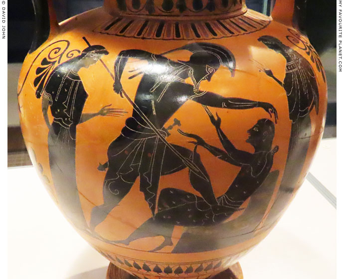 Neoptolemos killing Priam on an Attic amphora in Leiden at My Favourite Planet