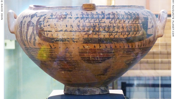 A Geometric krater showing a man taking a woman aboard a ship at My Favourite Planet