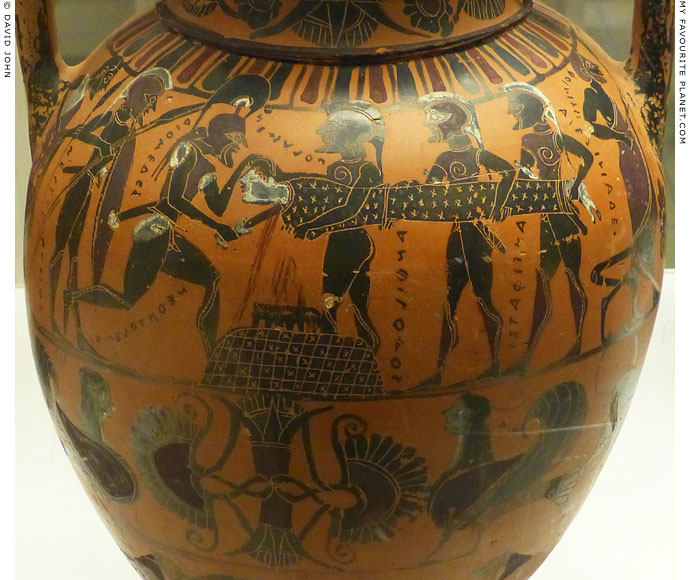 Vase painting of Achilles binding the wound of Patroklos by Sosias at My Favourite Planet