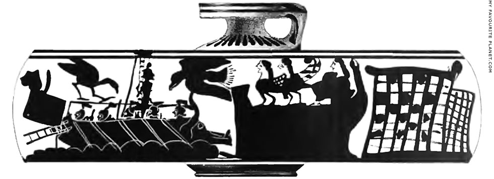 Odysseus and the Sirens on a Corinthian black-figure aryballos in Boston at My Favourite Planet