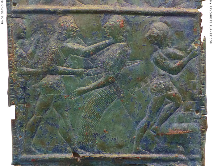 Relief of Orestes killing Clytaemnestra on a bronze sheet in Olympia at My Favourite Planet