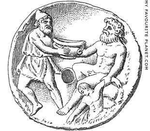 Odysseus offering wine to Polyphemos on a terracotta oil lamp at My Favourite Planet