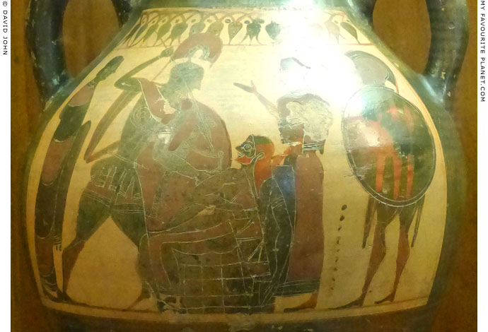 Neoptolemos killing king Priam of Troy at My Favourite Planet