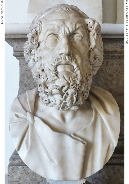 Bust of Homer of the Hellenistic blind type, Capitoline Museums, Rome at My Favourite Planet