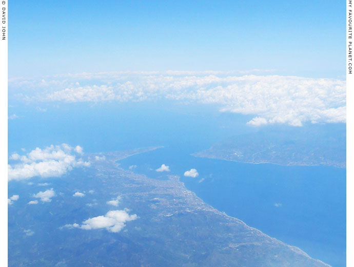 Aerial view of the Strait of Messina at The Cheshire Cat Blog
