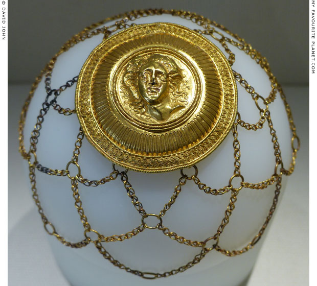 The head of Gorgon Medusa on the tondo of a gold hairnet at My Favourite Planet