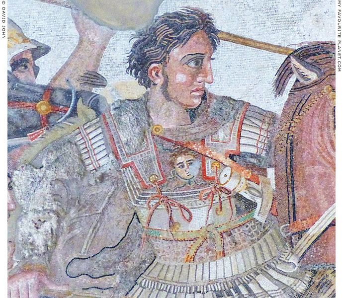 Alexander the Great wearing the Gorgoneion on the breastplate of his armour at My Favourite Planet