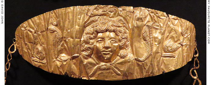 The head of Gorgon Medusa on the pendant of an Egyptian gold necklace at My Favourite Planet