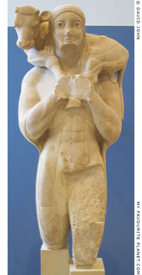 The Moschophoros (Calf Bearer) statue in the Acropolis Museum at My Favourite Planet