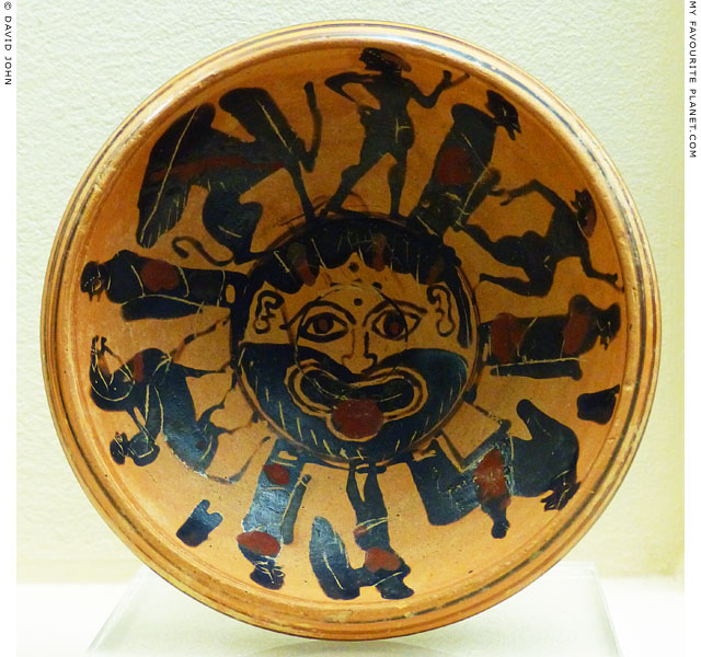 Ceramic plate with a bearded Gorgon, Kerameikos Museum, Athens at My Favourite Planet