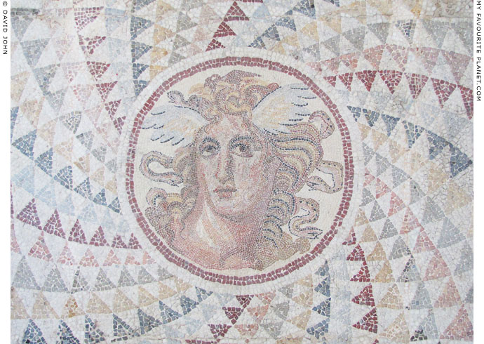 A mosaic floor from Piraeus with winged head of the Gorgon Medusa at My Favourite Planet
