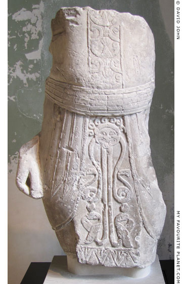 Cypriot statue of a male wearing an apron decorated with a Gorgoneion at My Favourite Planet