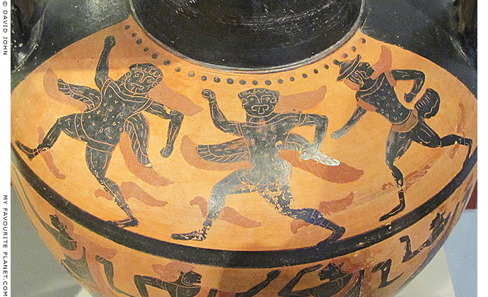 Gorgons dancing on an Etruscan neck amphora at My Favourite Planet