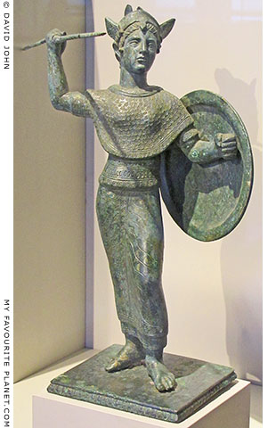 Statuette of the Etruscan goddess Menvra wearing the aegis at My Favourite Planet