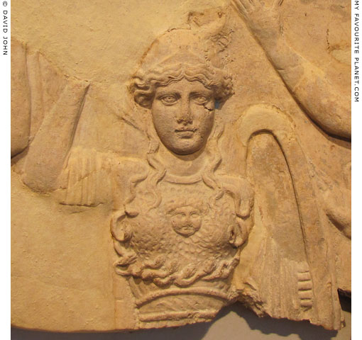 Palladion wearing the aegis and Gorgoneion on a Campana plaque at My Favourite Planet