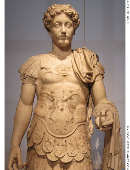 A statue of Emperor Marcus Aurelius wearing a cuirass with the Gorgoneion at My Favourite Planet