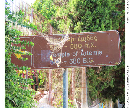 A roadsign at site of the Temple of Artemis, Corfu at My Favourite Planet